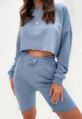 Missguided Blue Crop Sweatshirt And Biker Shorts Co Ord Set