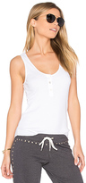 Monrow Baseball Hem Rib Tank in White. - size L (also in )