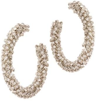 Oscar de la Renta Beaded Small Hoop Earrings