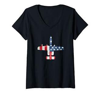 Womens A-10 Thunderbolt II Warthog American Flag Military Airplane V-Neck T-Shirt