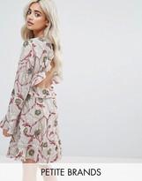 Boohoo Petite Floral Print Open Back Skater Dress