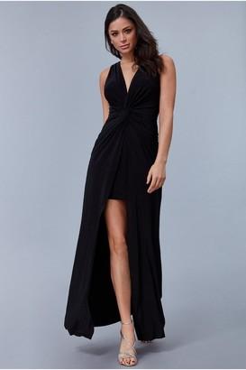 Goddiva Black Knot Front Sleeveless Maxi Dress