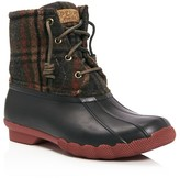 Sperry Saltwater Plaid Lace Up Rain Boots