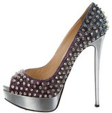 Christian Louboutin Iridescent Lady Peep-Toe Pumps