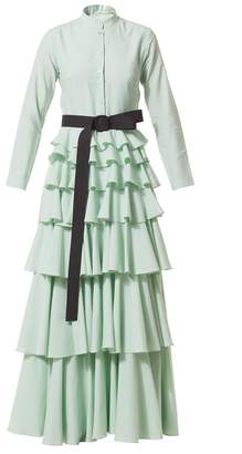 Talented Long Ruffle Dress with Belt Green
