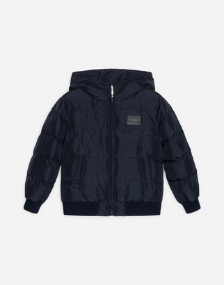 Dolce & Gabbana Nylon Down Jacket With Hood And Plate