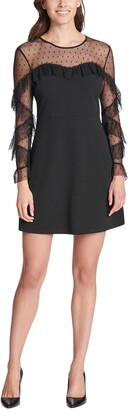 Kensie Ruffled Dot Mesh Long Sleeve Crepe Mini Dress