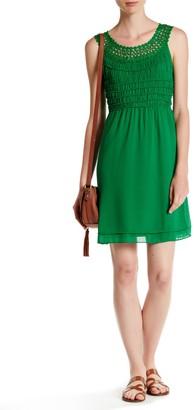 Max Studio Crocheted Trim Smocked Dress