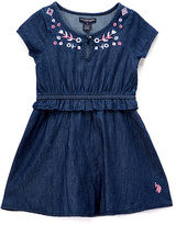 U.S. Polo Assn. Dark Wash Embroidered A-Line Dress - Infant, Toddler & Girls