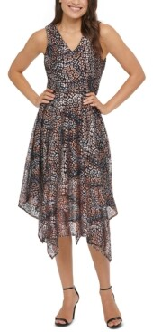 Kensie Foil-Printed Hanky-Hem Midi Dress