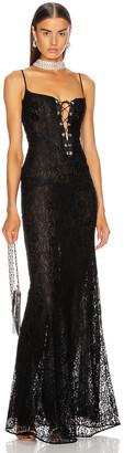 Alessandra Rich Long Lace Bustier Dress in Black | FWRD