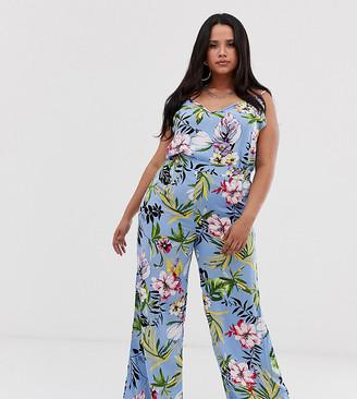 Lasula Plus wide leg pant in summer floral print-Multi