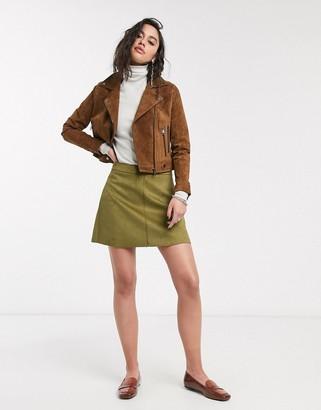 Only bonded mini skirt in green