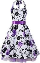 iLover Vintage 1950's Rockabilly Swing Floral Spring Garden Party Picnic Dress
