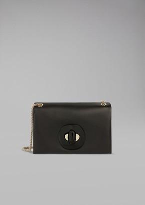 Giorgio Armani Leather Bag With Gusset Design