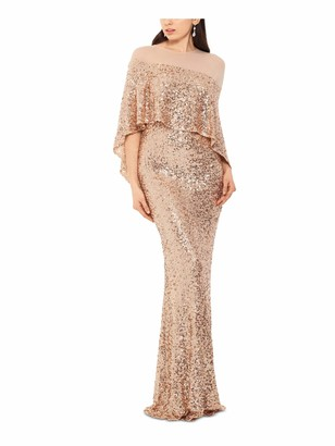 Betsy & Adam Womens Beige Sequined Cape Overlay Sleeveless Crew Neck Full-Length Body Con Formal Dress Size: 12
