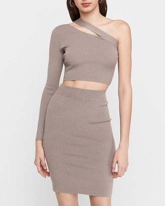 Express One-Shoulder Cropped Ribbed Sweater