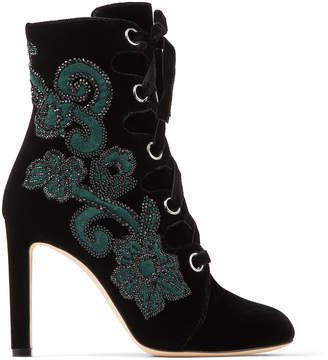 Jimmy Choo BLAYRE 100 Black Velvet Boots with Floral Embroidery