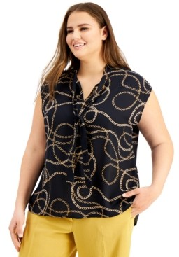 Bar III Trendy Plus Size Chain-Print Top, Created for Macy's