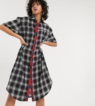 One Above Another 90's shirt dress in mixed grunge check