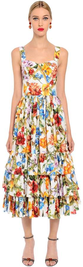 Dolce & Gabbana Bamboo Printed Cotton Poplin Midi Dress