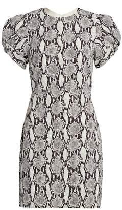 A.L.C. Brinley Puff-Sleeve Snake Print Sheath Dress