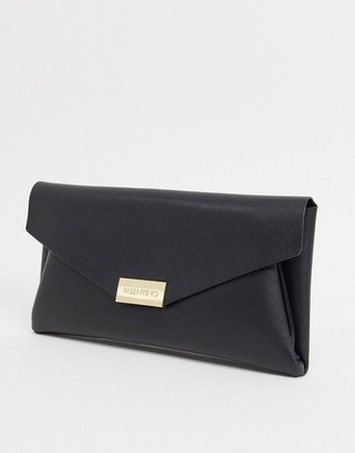 Valentino by Mario Valentino Arpie folderover clutch bag with chain handle in black