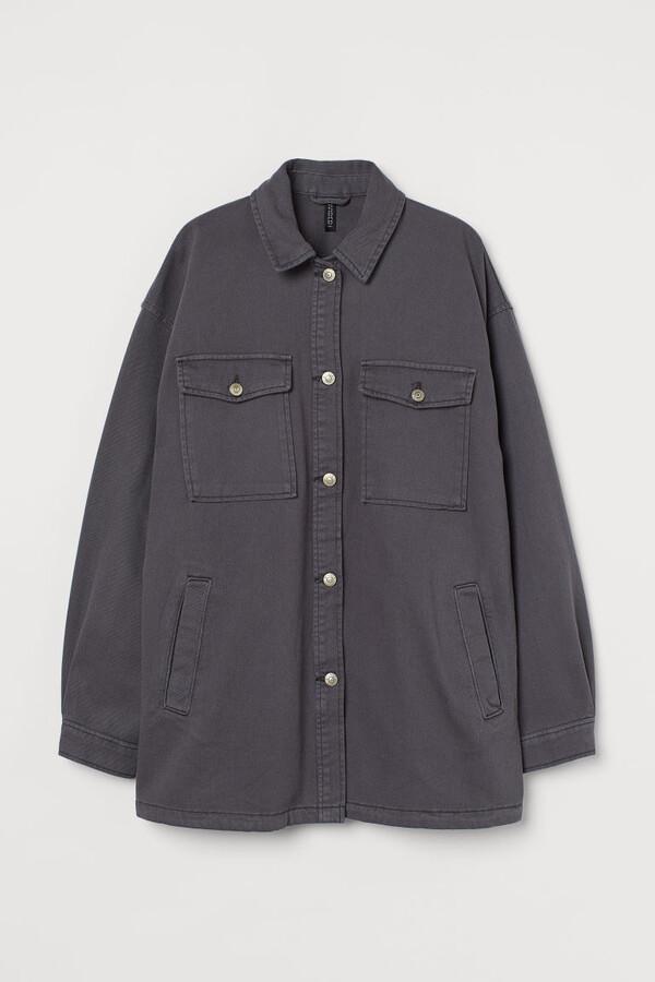 H&M Oversized Shirt Jacket - Gray