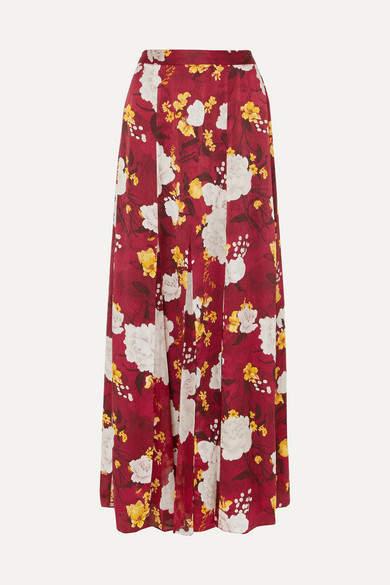 Alice + Olivia Alice Olivia - Athena Floral-print Hammered Silk-satin Maxi Skirt - Burgundy