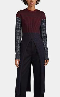 Chloé Women's Wool-Blend Split-Hem Sweater - Navy