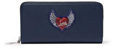 Christian Louboutin Panettone Embellished Textured-leather Continental Wallet - Navy