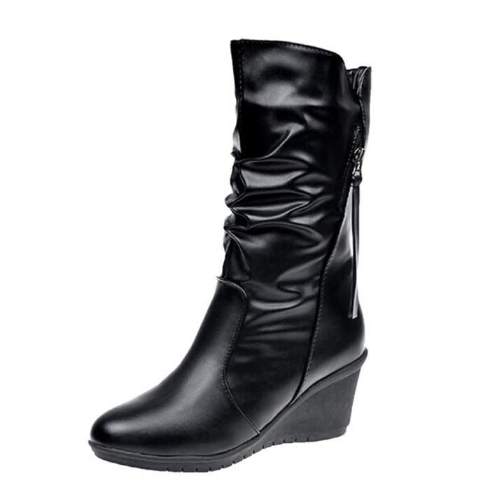ea5acc5dd7e4c Fullfun Female Winter Boots Women Leather Zipper Motorcycle High Boots  Wedges Platform Shoes (9, )