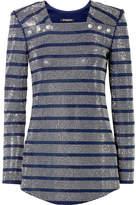 Balmain Embellished Stretch-jersey Blouse - Storm blue