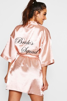 boohoo Brides Squad Satin dressing gown
