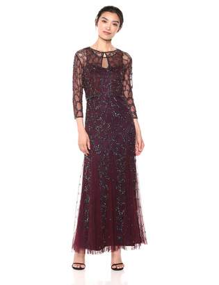 Pisarro Nights Women's Long Jacket Dress with an All Over Beaded Motif