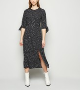 New Look Spot Tie Sleeve Side Split Midi Dress