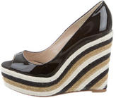 Brian Atwood Peep-Toe Espadrille Wedges w/ Tags
