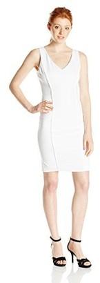 XOXO Women's Sleeveless Sheath Dress with Leather Panel