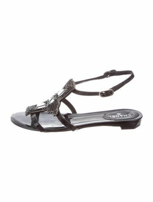 Chanel Patent Leather Crystal Embellishments T-Strap Sandals Black