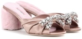 Miu Miu Embellished satin and shearling sandals