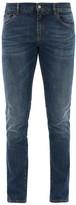 Dolce & Gabbana Crown Logo-embroidered Slim-leg Jeans - Mens - Blue