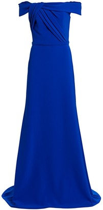 Theia Crepe Off-The-Shoulder Gown