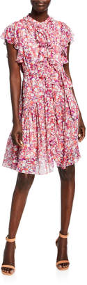 Shoshanna Rylee Anfa Floral-Print Ruffle Dress