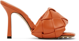 Bottega Veneta Orange Intrecciato Lido Heeled Sandals