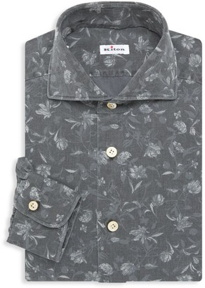 Kiton Contemporary-Fit Floral Print Dress Shirt