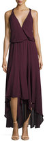 Haute Hippie Silk Chiffon Strappy High-Low Dress, Plum