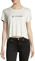 Central Park West Knit Two-Tone Je T'aime Top, Ivory/Black