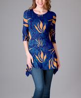 Lily Blue & Orange Floral Scoop Neck Tunic - Plus Too