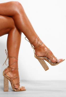 Pink Boutique Wished Away Rose Gold Lace Up Block Heels