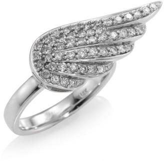 Sydney Evan 14K White Gold Angel Wing Diamond Ring